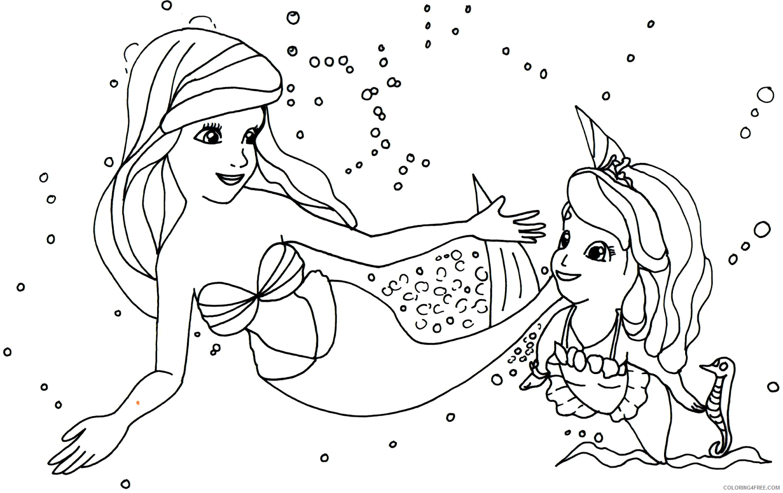Princess Sofia Coloring Pages Mermaid Coloring4free