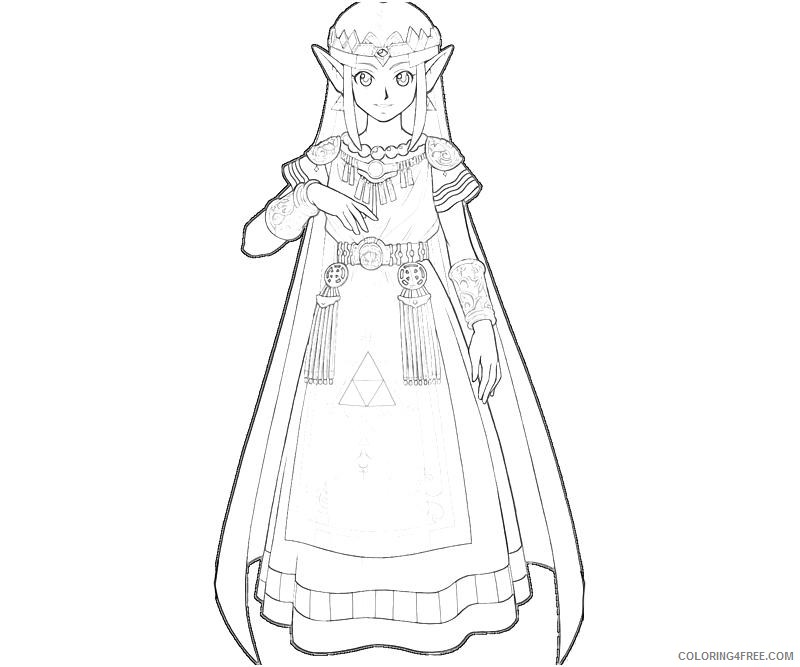 Princess Zelda Coloring Pages To Print Coloring4free Coloring4free Com