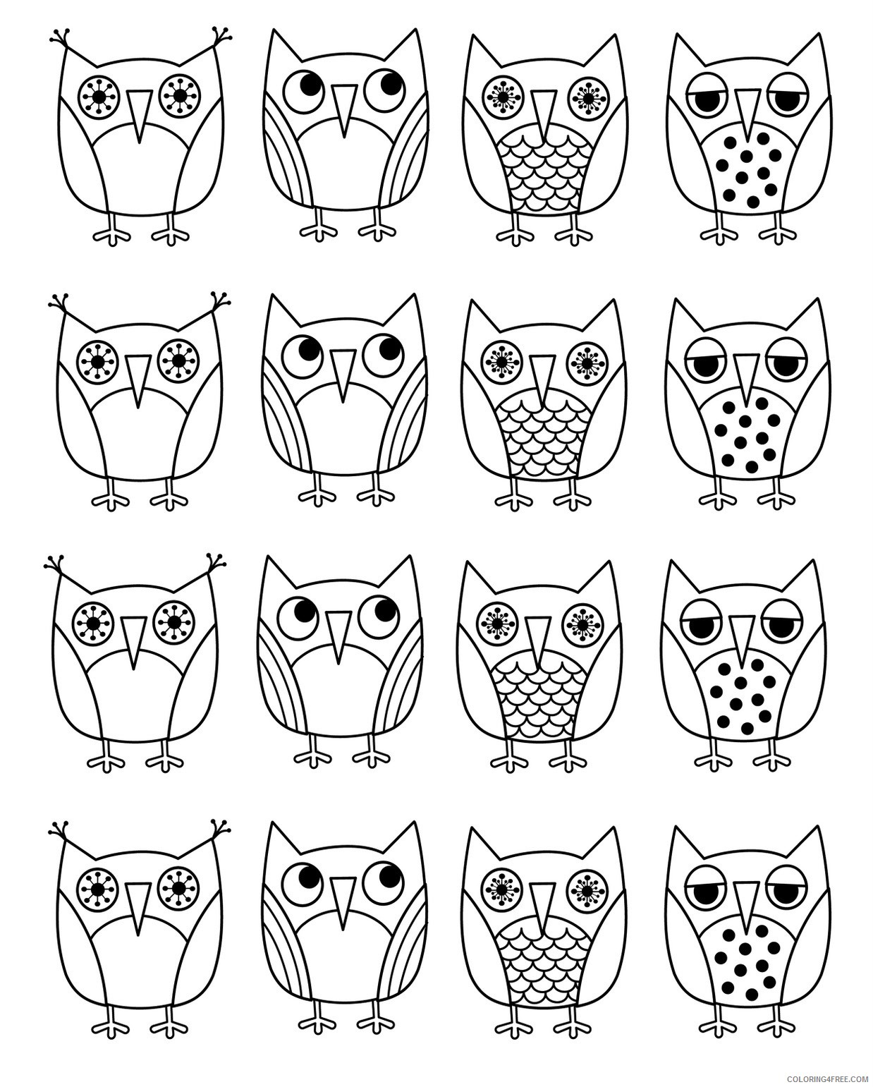 - Printable Cartoon Owl Coloring Pages Coloring4free - Coloring4Free.com