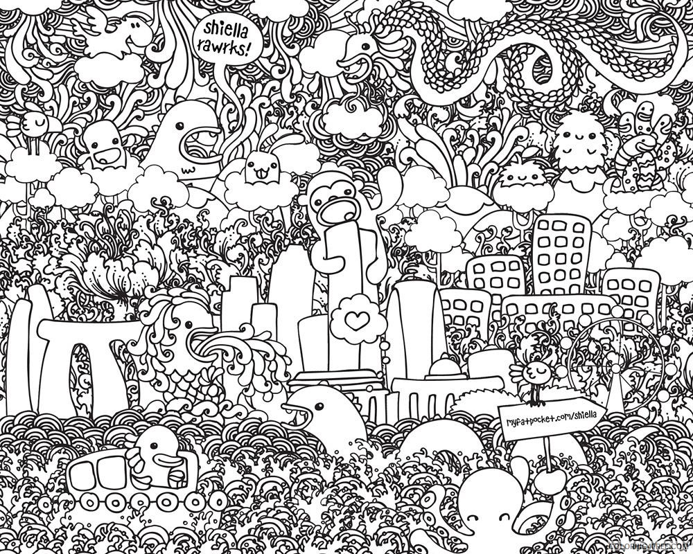 - Printable Doodle Coloring Pages For Adults Coloring4free