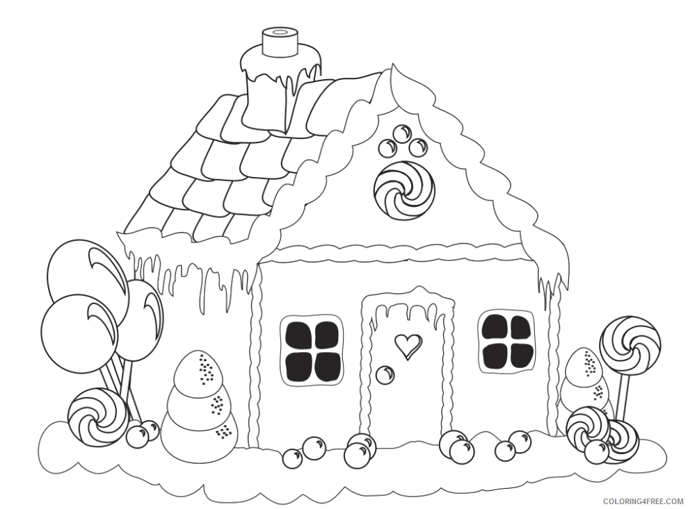 - Printable Gingerbread House Coloring Pages For Kids Coloring4free -  Coloring4Free.com