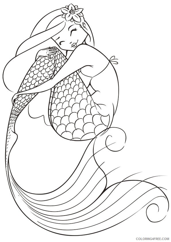 Mermaid Coloring Pages For Adults Coloring4free - Coloring4Free.com