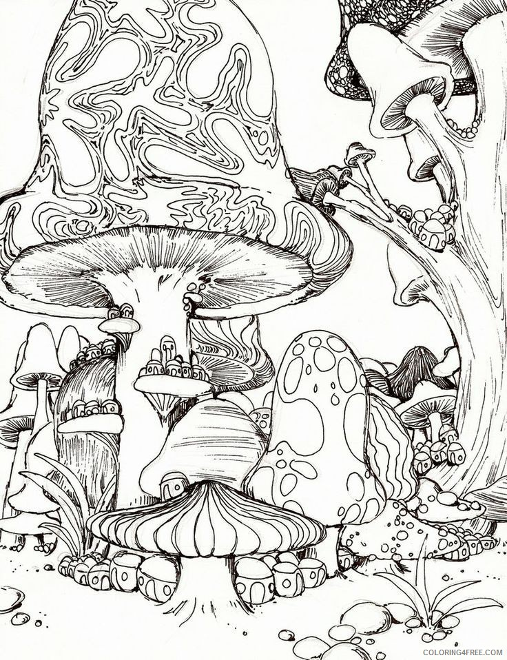 Free printable mushrooms adult coloring page. Download it in PDF ... | 958x736