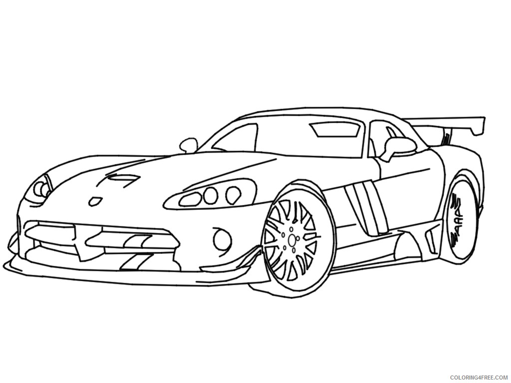 Race Car Coloring Pages Dodge Viper Coloring4free Coloring4free Com