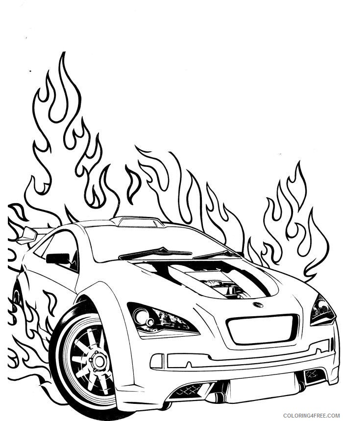 - Race Car Coloring Pages On Fire Coloring4free - Coloring4Free.com