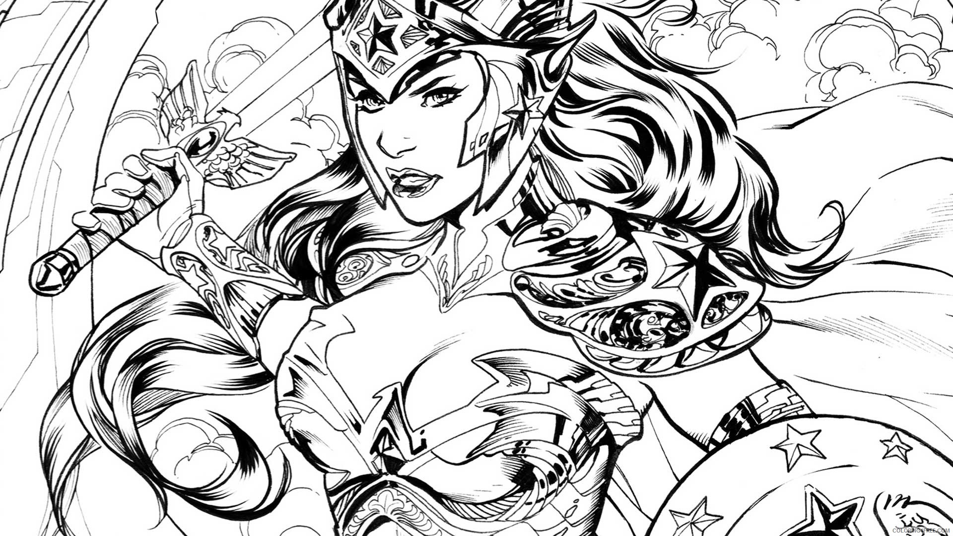 realistic wonder woman coloring pages for adults Coloring4free ...