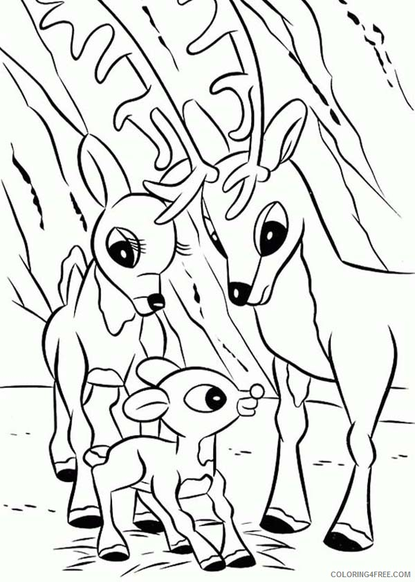 Rudolph The Red Nosed Reindeer Coloring Pages With Mom And Dad Coloring4free Coloring4free Com