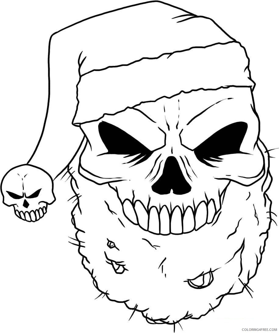 Scary Coloring Pages Santa Skull