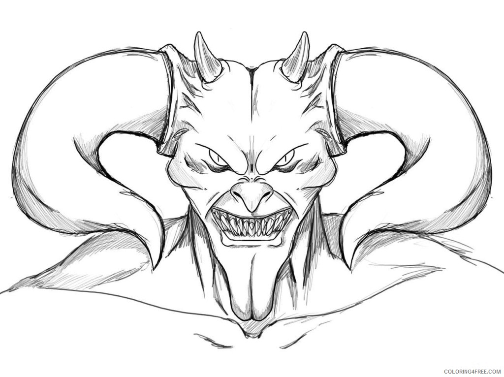 Scary Devil Skull Coloring Pages