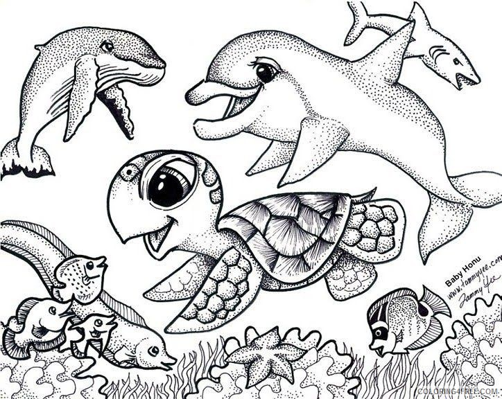 Sea Turtle Coloring Pages Under The Sea Coloring4free - Coloring4Free.com