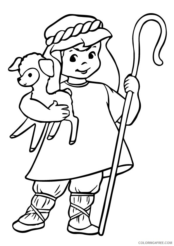 - Sheep Coloring Pages With A Shepherd Coloring4free - Coloring4Free.com