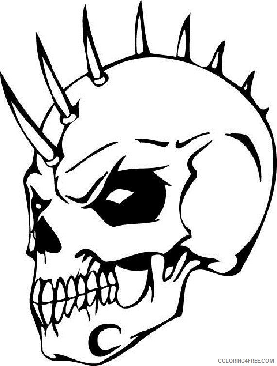 - Skull Coloring Pages On Fire Coloring4free - Coloring4Free.com