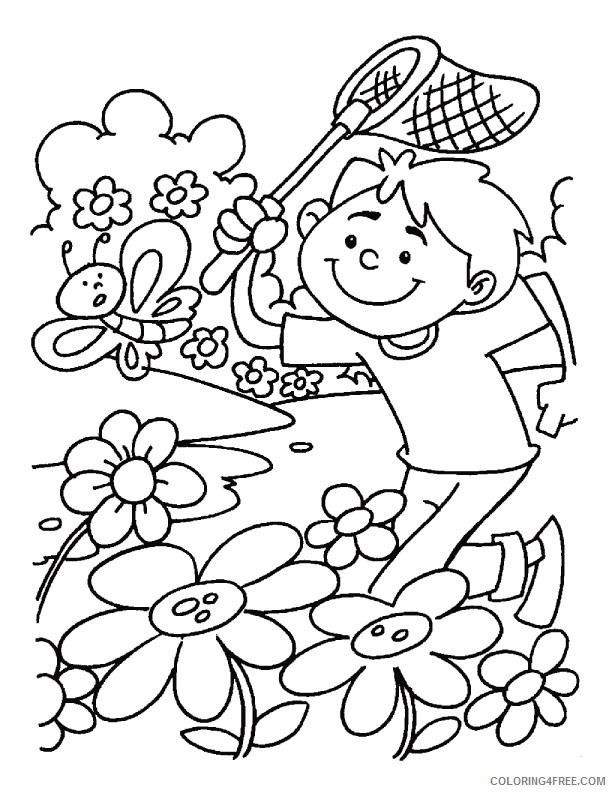 - Spring Coloring Pages Boy Catching Butterfly Coloring4free -  Coloring4Free.com