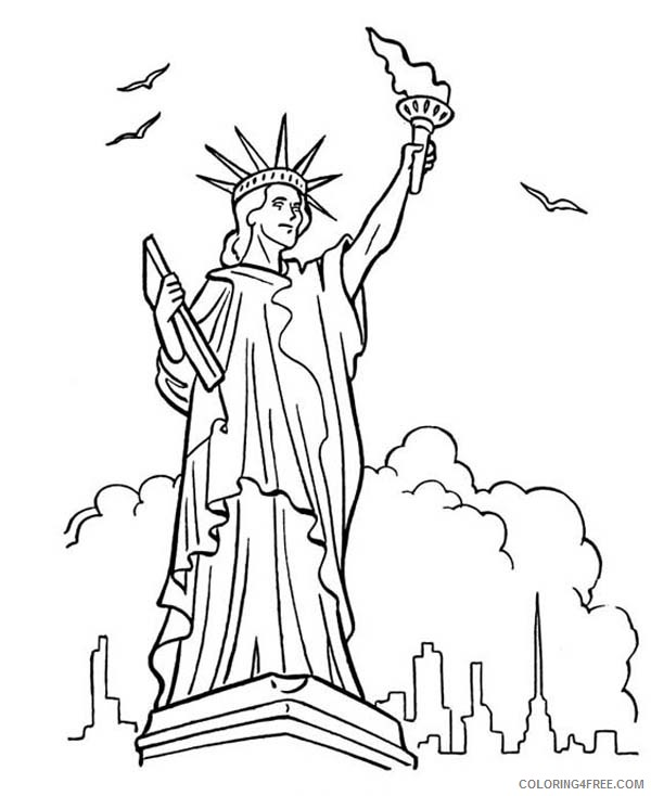 Statue Of Liberty Coloring Pages In New York Coloring4free -  Coloring4Free.com