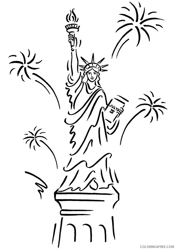 Statue Of Liberty Coloring Pages With Fireworks Coloring4free Coloring4free Com