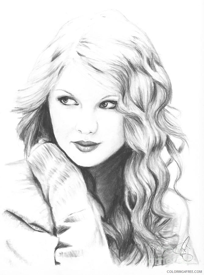 Taylor Swift Coloring Pages Realistic Coloring4free Coloring4free Com