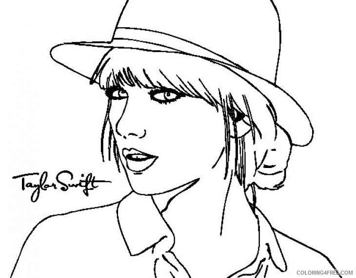 - Taylor Swift Coloring Pages Wearing Hat Coloring4free - Coloring4Free.com