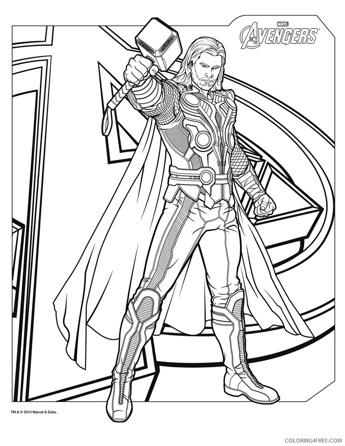 Avengers Thor coloring page | Free Printable Coloring Pages | 903x698