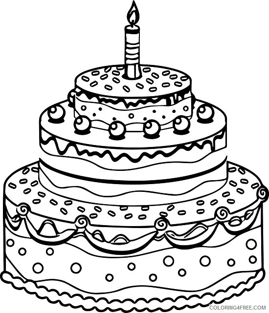 Astonishing Tiered Birthday Cake Coloring Pages To Print Coloring4Free Personalised Birthday Cards Cominlily Jamesorg