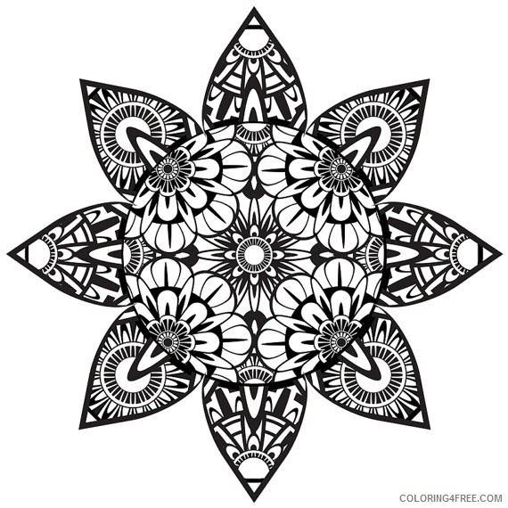 Trippy Coloring Pages Mandala Coloring4free - Coloring4Free.com