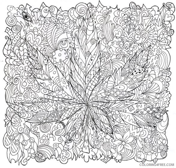 Trippy Coloring Pages Marijuana For Adults Coloring4free - Coloring4Free.com