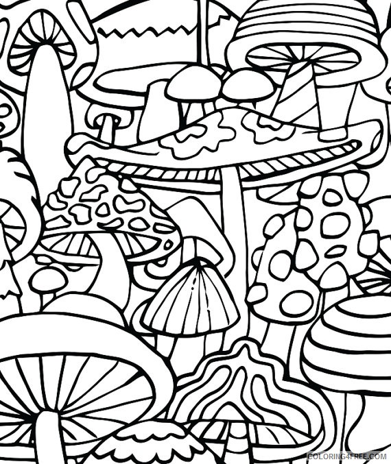 Trippy Mushrooms Coloring Pages Coloring4free - Coloring4Free.com