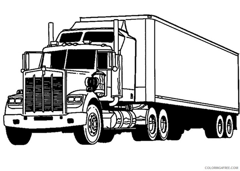 truck coloring pages long trailer Coloring4free ...