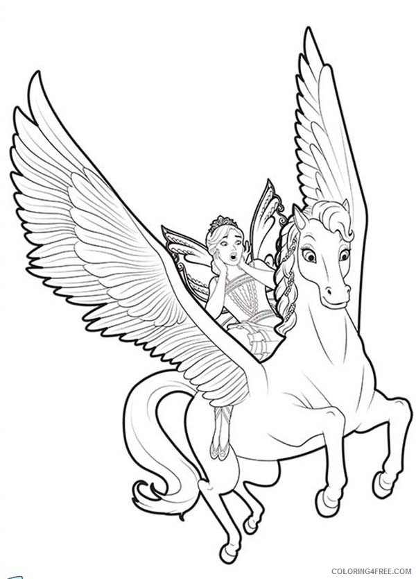Unicorn Coloring Pages Flying With Fairy Coloring4free Coloring4free Com