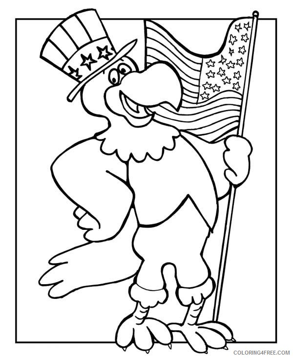 Veterans Day Coloring Pages Bald Eagle Holding Flag Coloring4free -  Coloring4Free.com