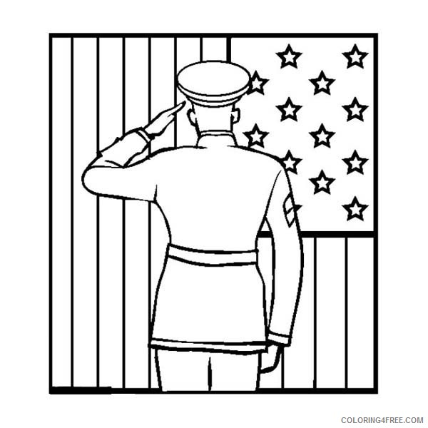 - Veterans Day Coloring Pages Soldier Saluting Flag Coloring4free -  Coloring4Free.com