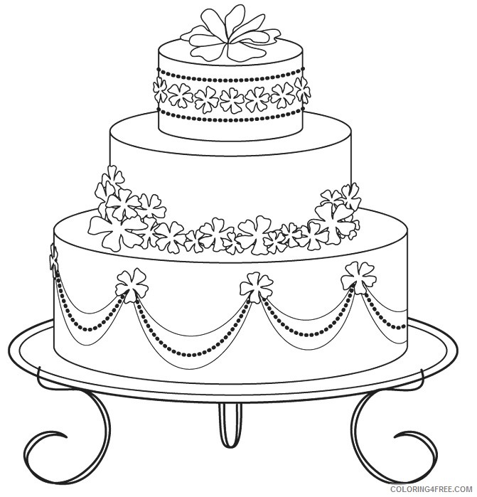 - Wedding Cake Coloring Pages Printable Coloring4free - Coloring4Free.com
