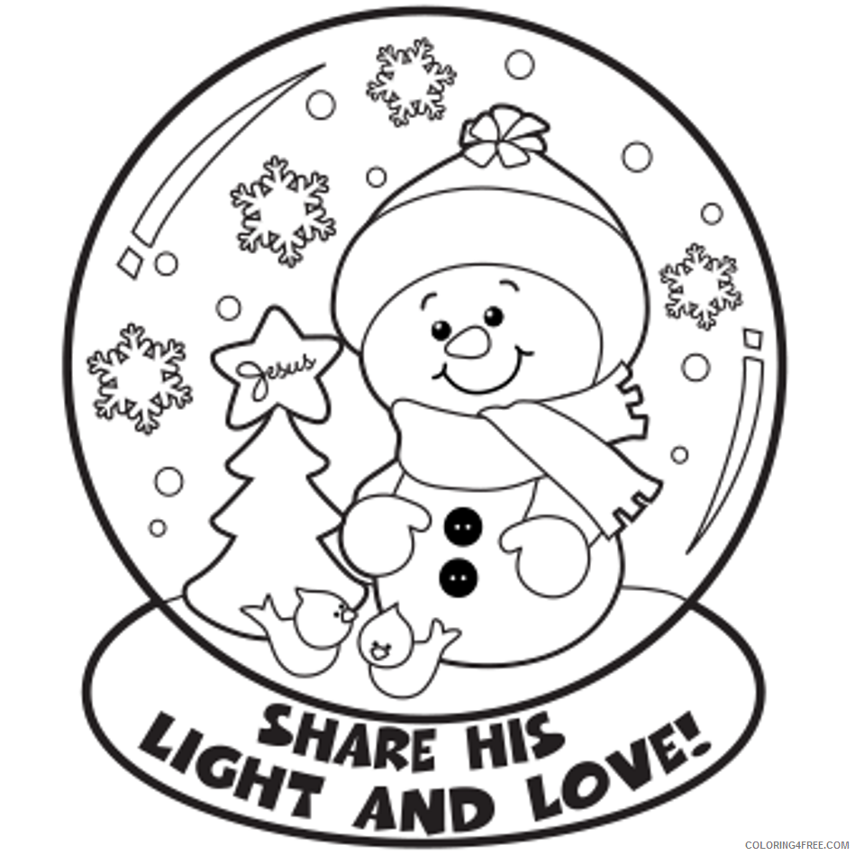 - Winter Coloring Pages Snowman In Snow Globe Coloring4free