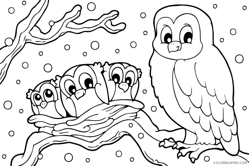 Winter Coloring Pages Snowy Owl Coloring4free - Coloring4Free.com
