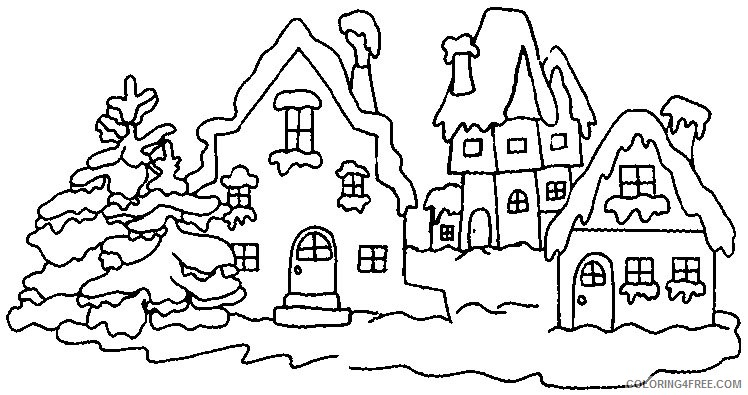 winter village coloring pages Coloring8free - Coloring8Free.com