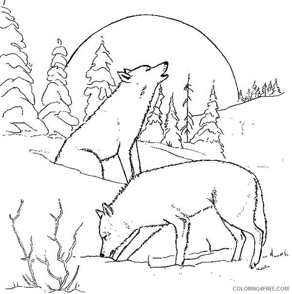 - Wolf Coloring Pages Howling At Moon Coloring4free - Coloring4Free.com