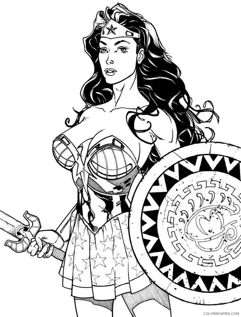 Wonder Woman Coloring Pages Sword And Shield Coloring4free