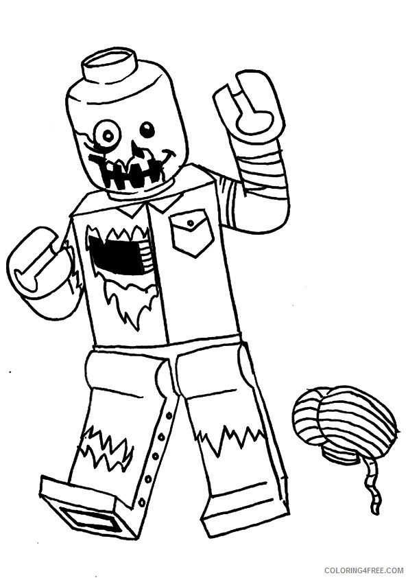 Zombie Coloring Pages Lego And Brain Coloring4free Coloring4free Com