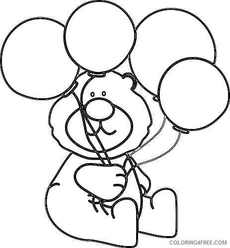 balloon black and white bear with balloons black white png ZD2K2d coloring