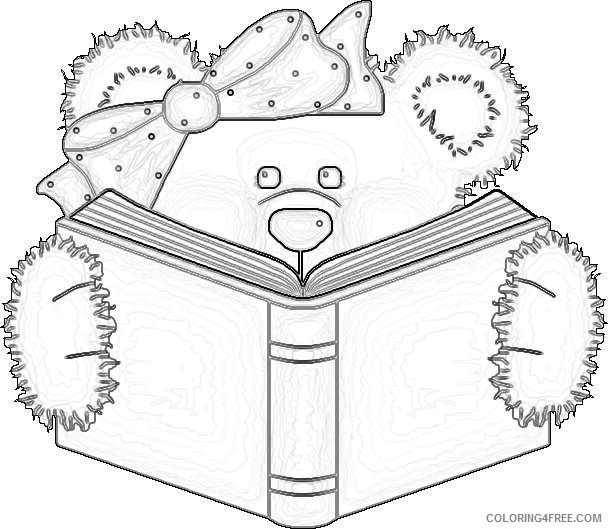 bear reading a book Zf2il0 coloring
