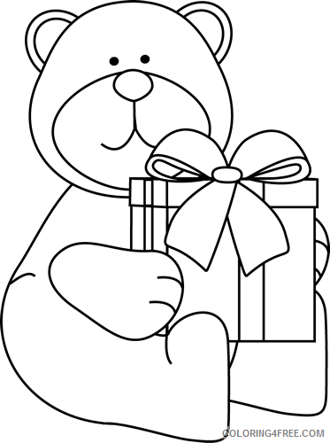 black and white christmas bear with gift black and white ajxTk8 coloring