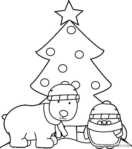 black and white polar bear penguin and christmas tree 8K2pcJ coloring