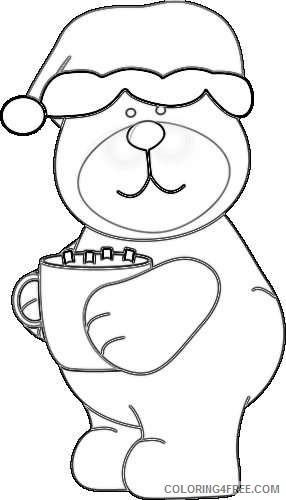 cocoa brown bear in a santa hat drinking a cup of cocoa enjUaj coloring