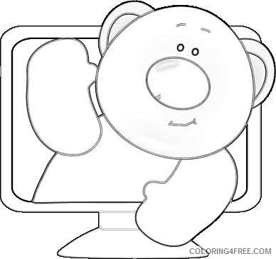 computer bear bear inside a computer screen sticking his head out XYsikV coloring