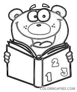 education illustration of a happy bear reading lxbr7q coloring