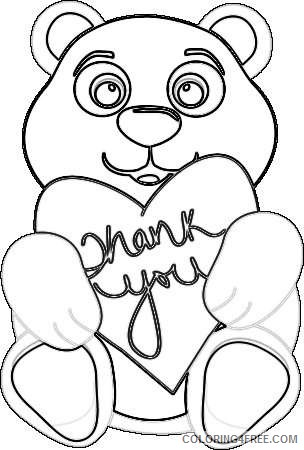 thank you bear holding a heart with the words thank you on R9nvrf coloring