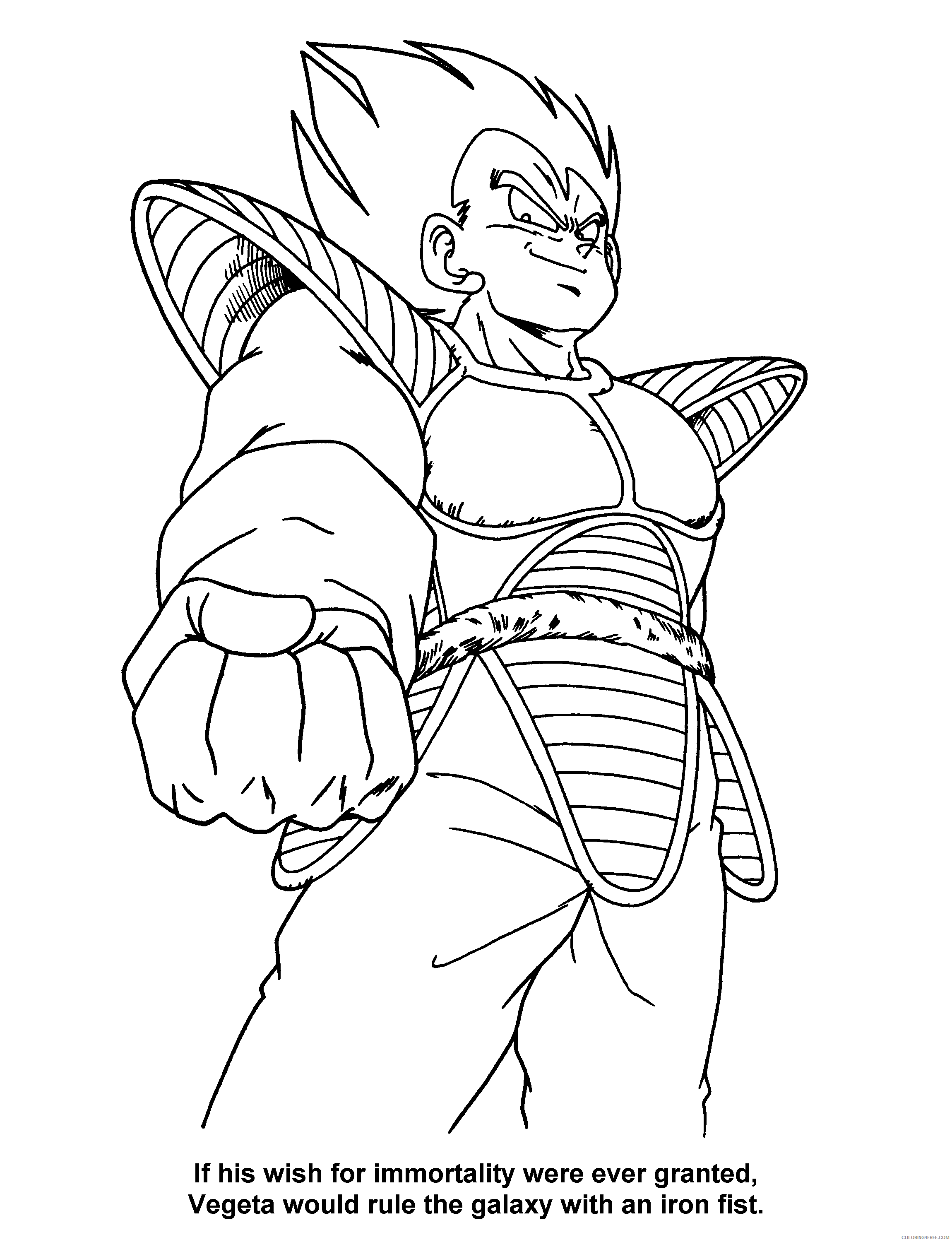 004 dragon ball z vegeta Printable Coloring4free