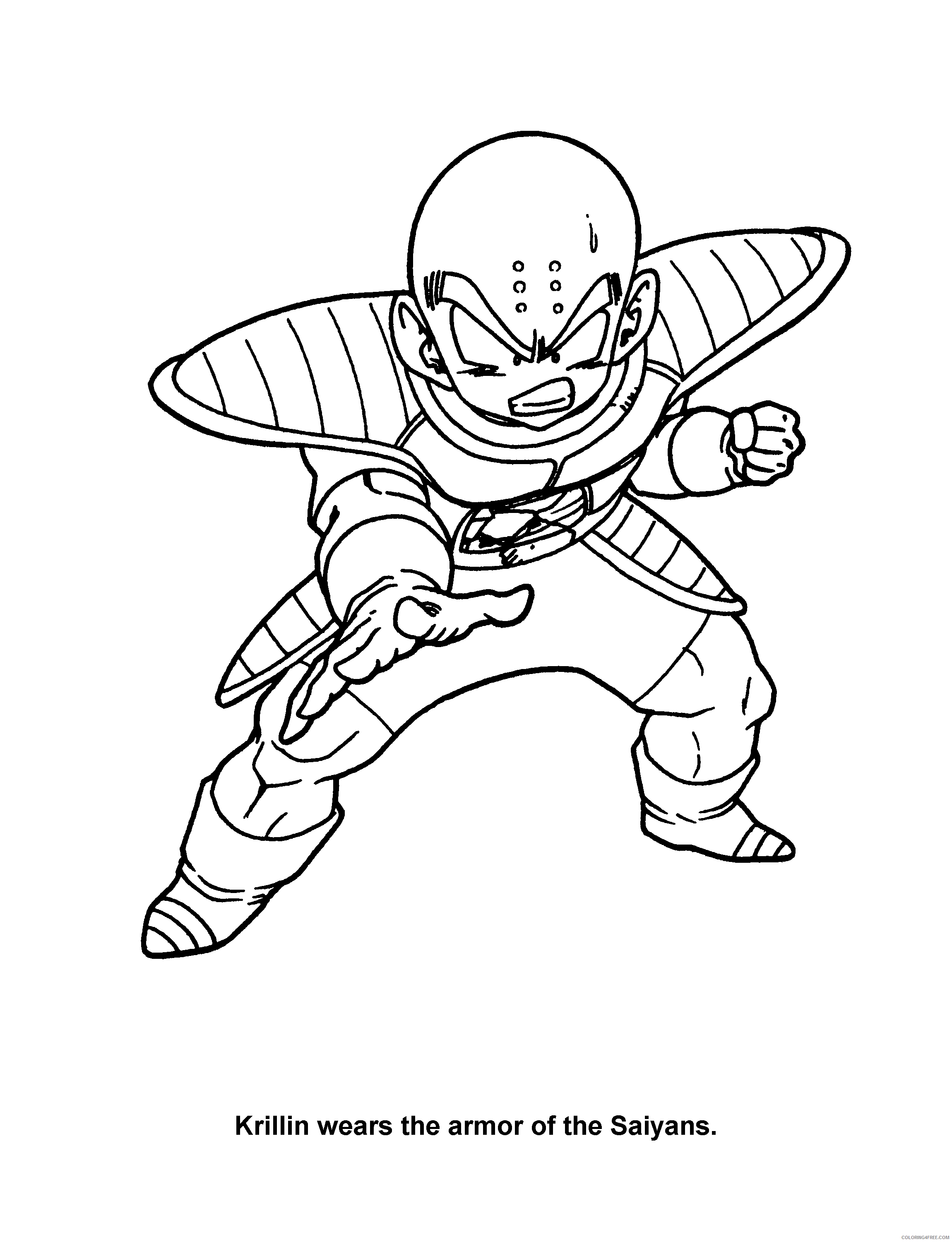 013 Dragon Ball Z Krillin Wears The Armor Of The Saiyans Printable Coloring4free Coloring4free Com