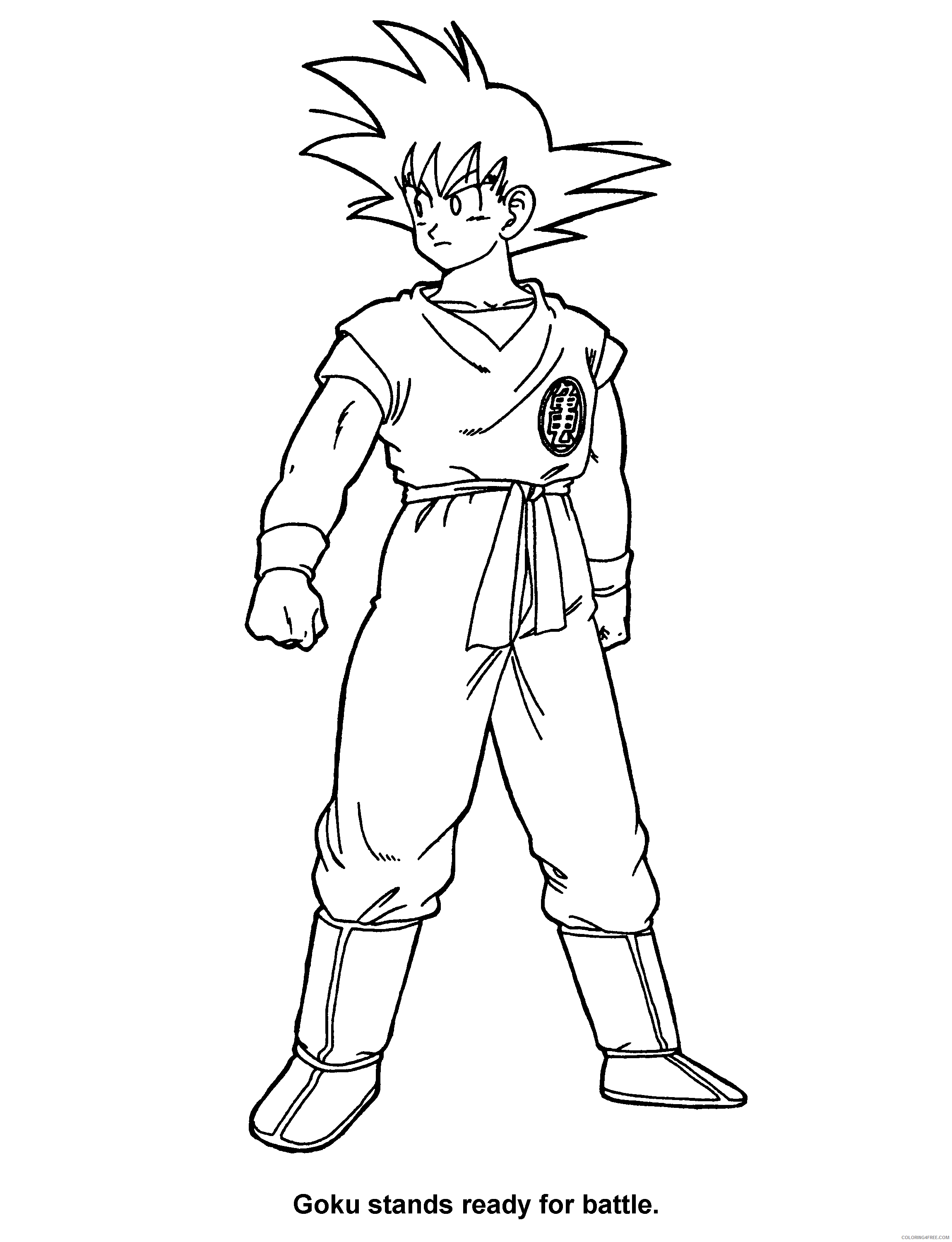 016 dragon ball z goku stands ready for battle Printable Coloring4free