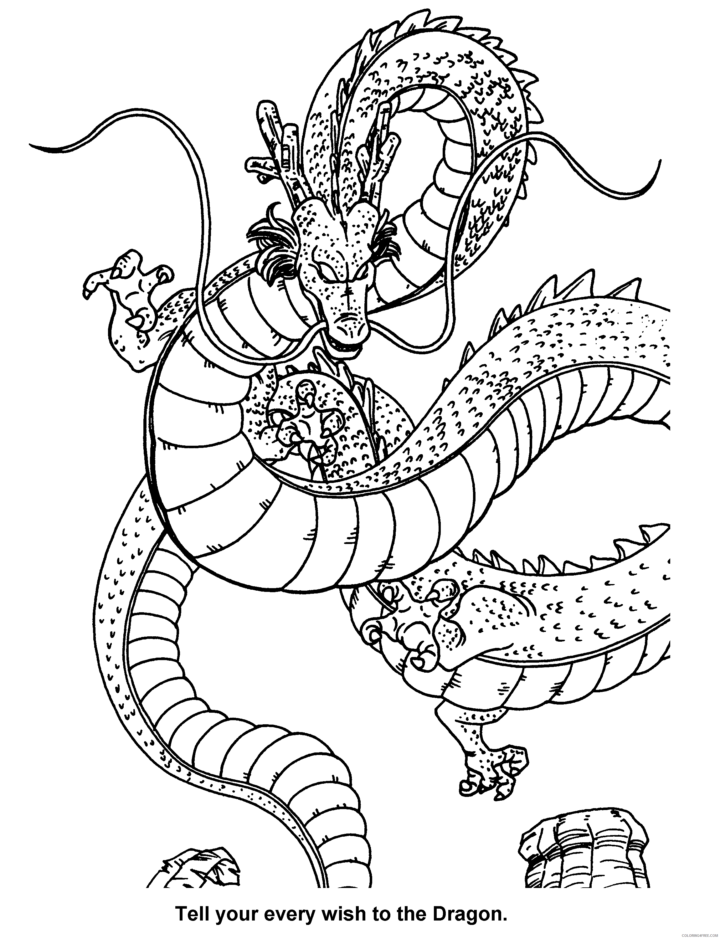 033 dragon ball z tell your every wish to the dragon Printable Coloring4free