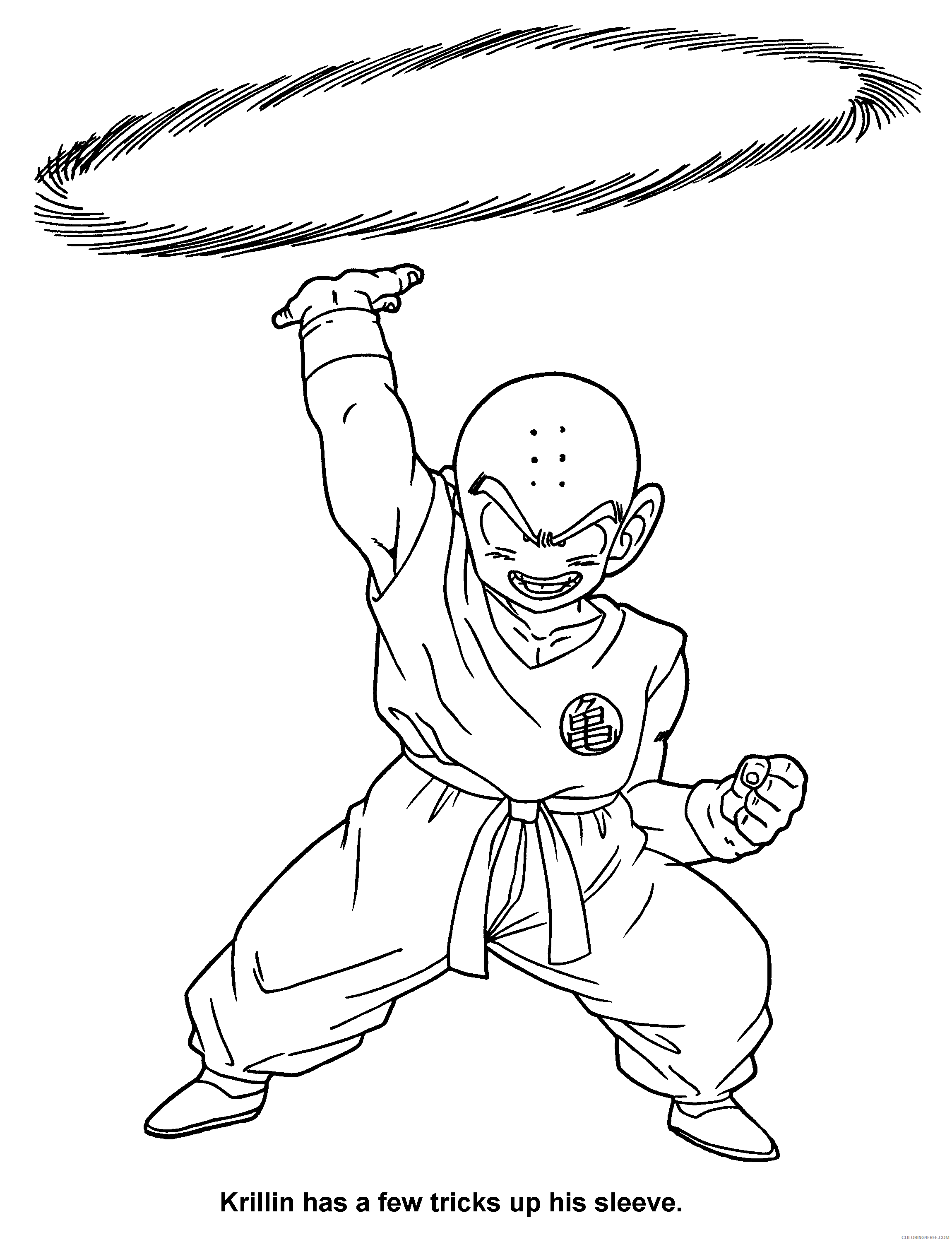 034 dragon ball z krillin has a few tricks up his sleeve Printable Coloring4free